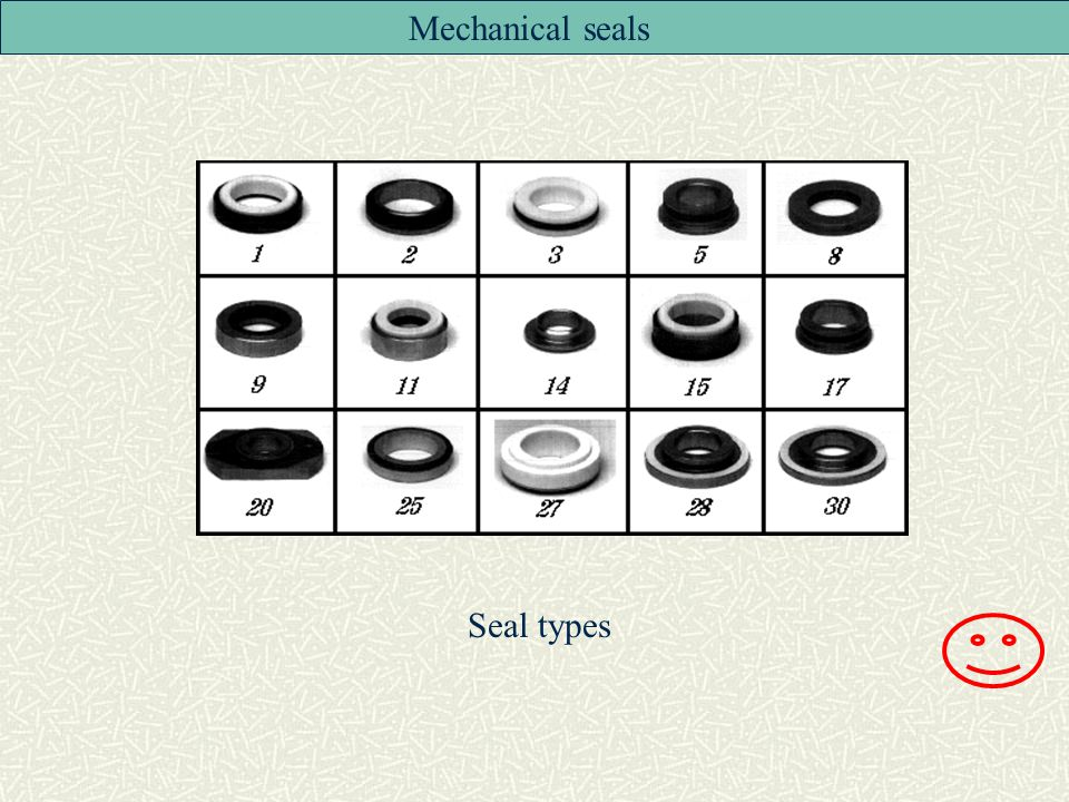 Mechanical seals Seal types