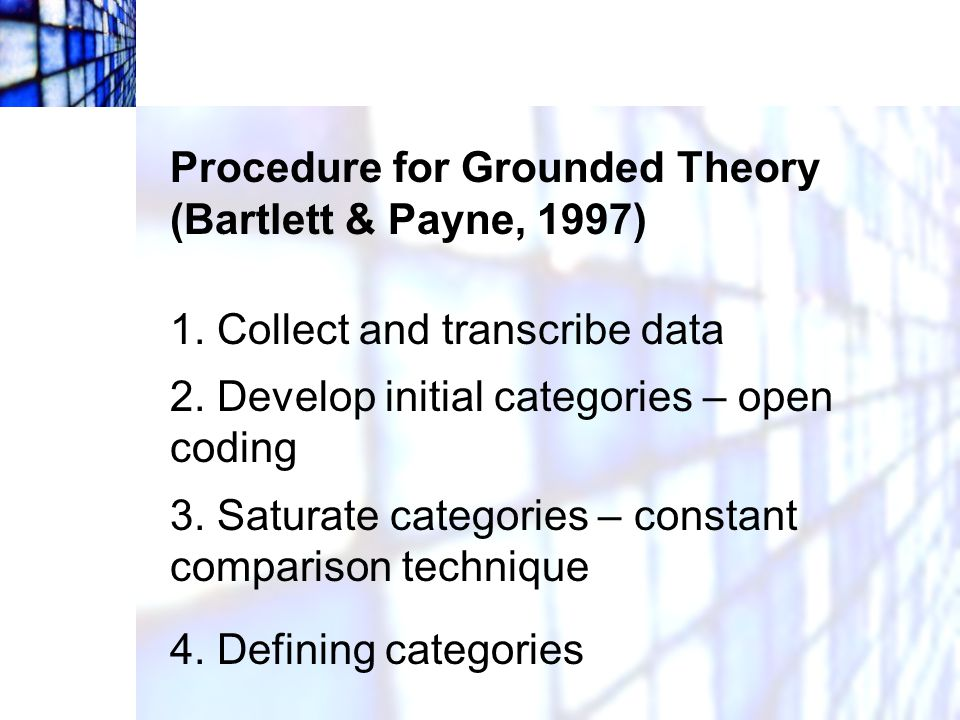 Procedure for Grounded Theory (Bartlett & Payne, 1997)