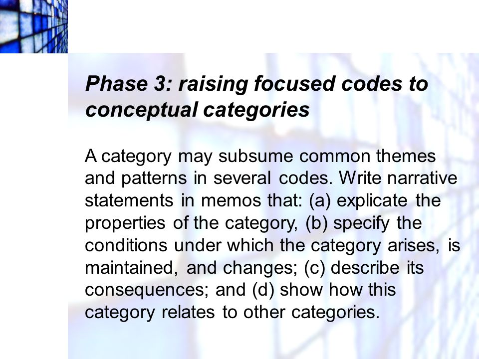 Phase 3: raising focused codes to conceptual categories