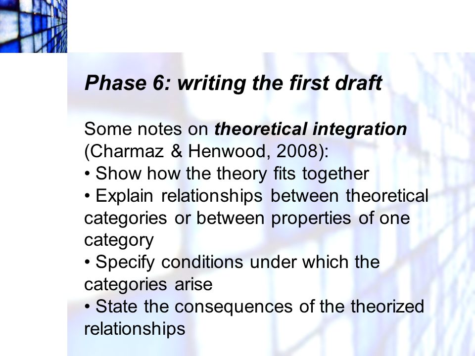 Phase 6: writing the first draft