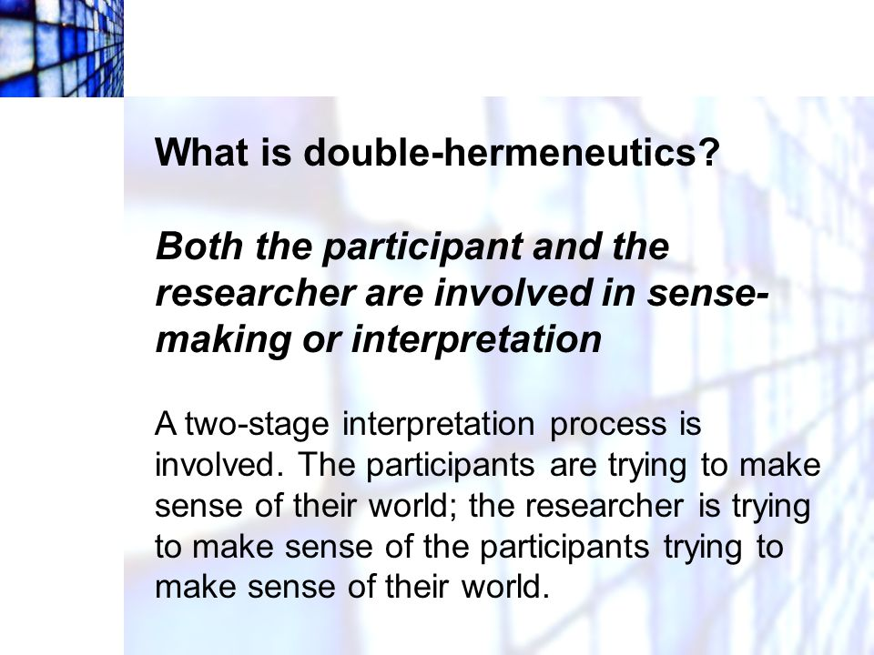 What is double-hermeneutics
