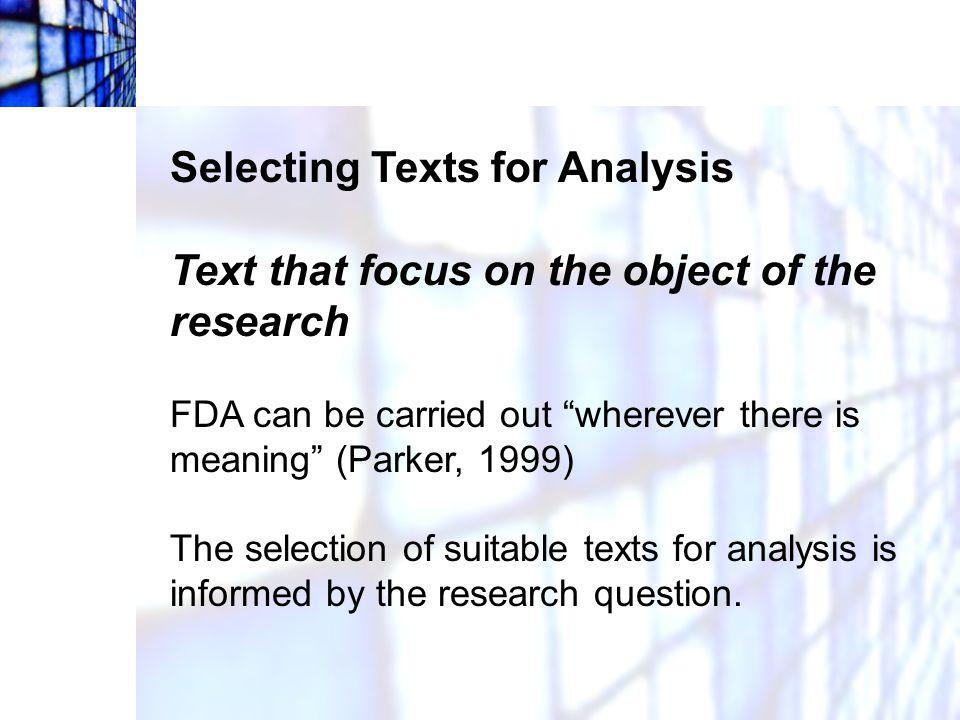 Selecting Texts for Analysis
