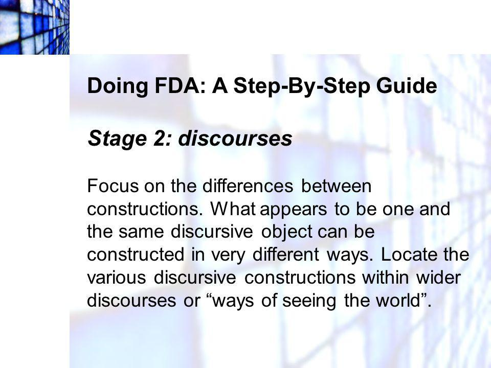 Doing FDA: A Step-By-Step Guide Stage 2: discourses