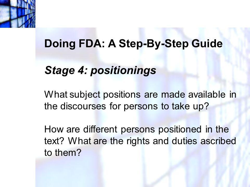 Doing FDA: A Step-By-Step Guide Stage 4: positionings