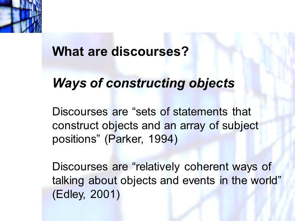 Ways of constructing objects