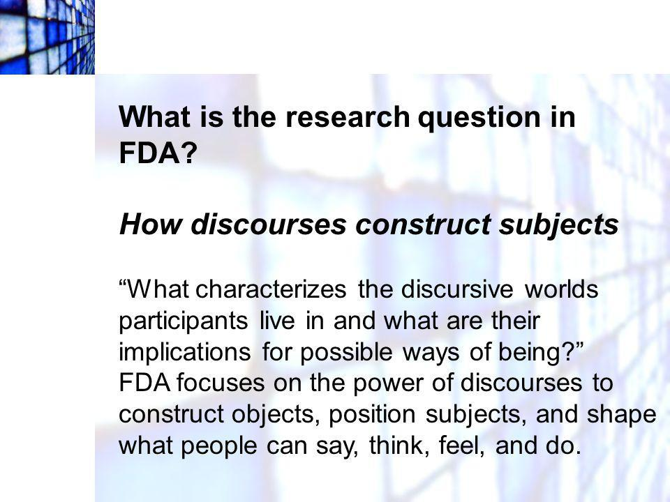 What is the research question in FDA
