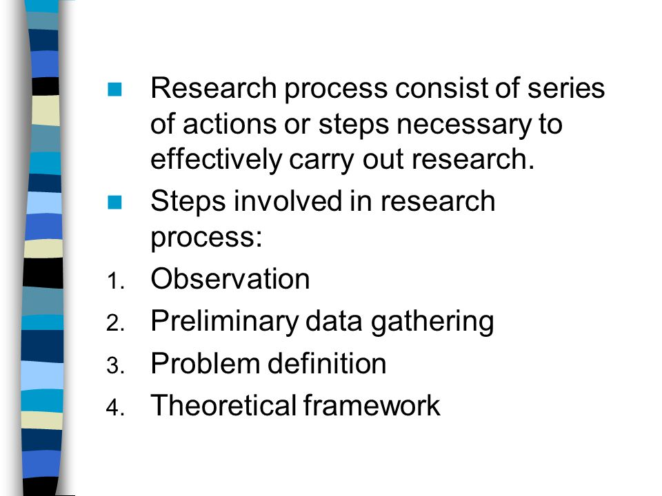 Research process consist of series of actions or steps necessary to effectively carry out research.