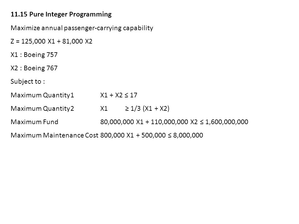 11.15 Pure Integer Programming