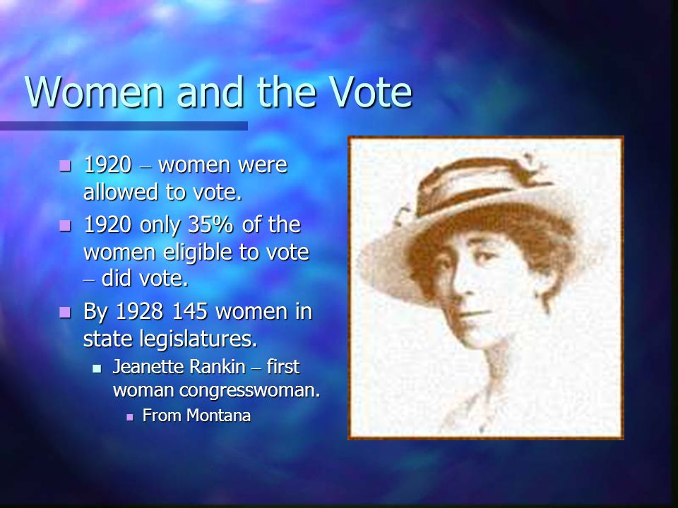 Women and the Vote 1920 – women were allowed to vote.