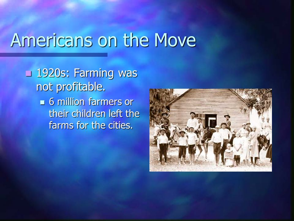 Americans on the Move 1920s: Farming was not profitable.