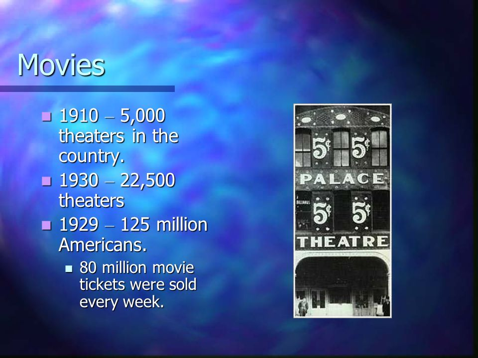 Movies 1910 – 5,000 theaters in the country. 1930 – 22,500 theaters