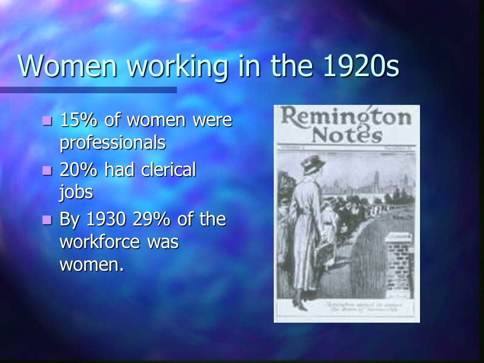 Women working in the 1920s 15% of women were professionals