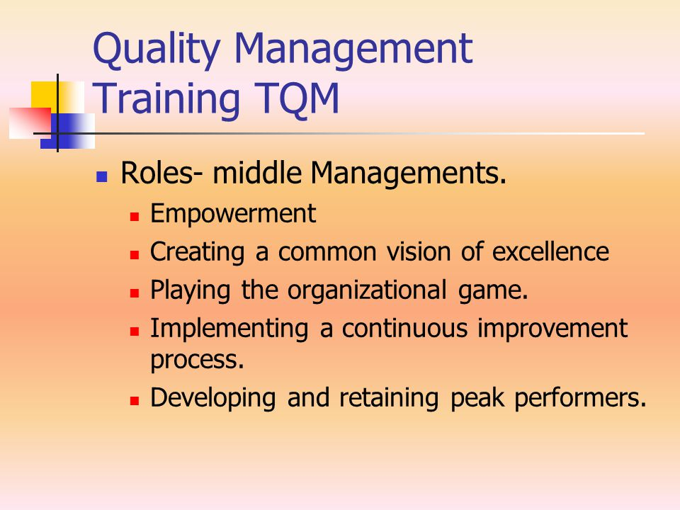 Quality Management Training TQM