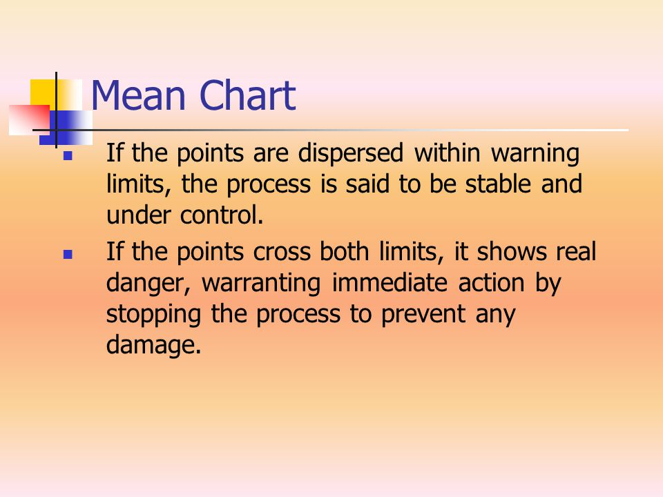 Mean Chart If the points are dispersed within warning limits, the process is said to be stable and under control.
