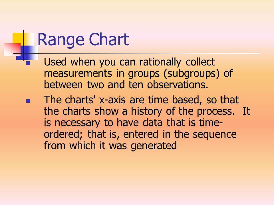 Range Chart Used when you can rationally collect measurements in groups (subgroups) of between two and ten observations.