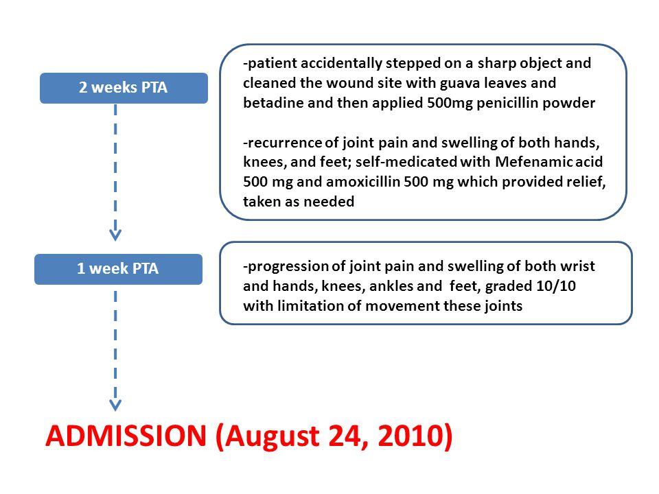 ADMISSION (August 24, 2010) 2 weeks PTA 1 week PTA
