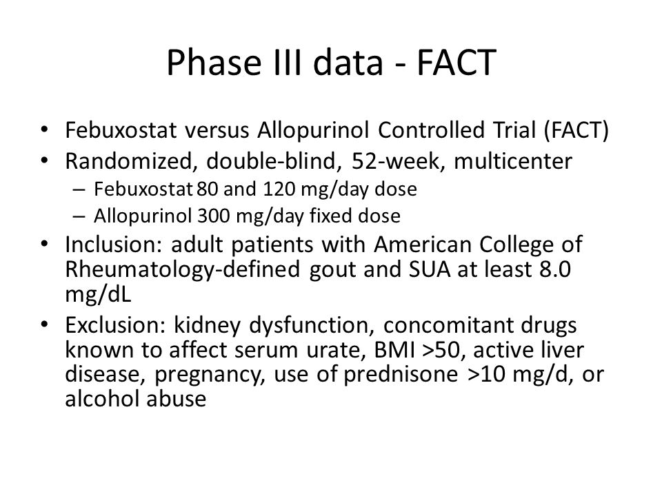 Phase III data - FACT Febuxostat versus Allopurinol Controlled Trial (FACT) Randomized, double-blind, 52-week, multicenter.
