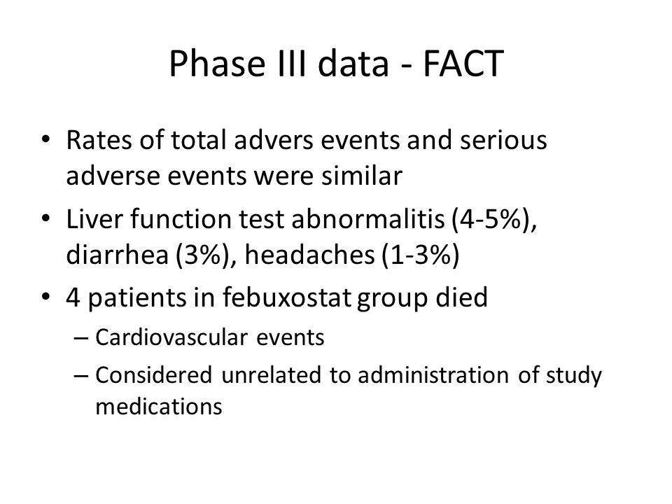 Phase III data - FACT Rates of total advers events and serious adverse events were similar.
