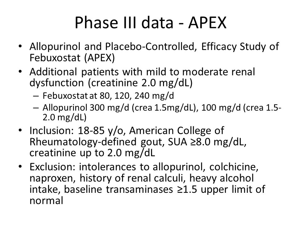 Phase III data - APEX Allopurinol and Placebo-Controlled, Efficacy Study of Febuxostat (APEX)