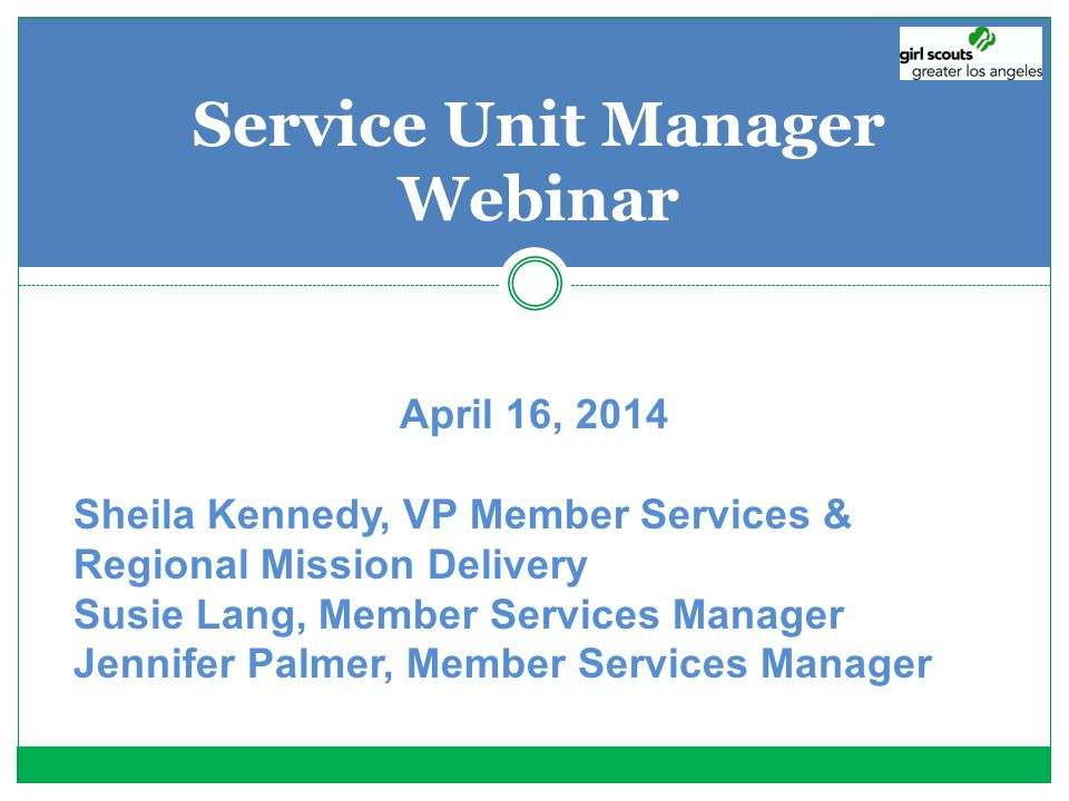 Service Unit Manager Webinar