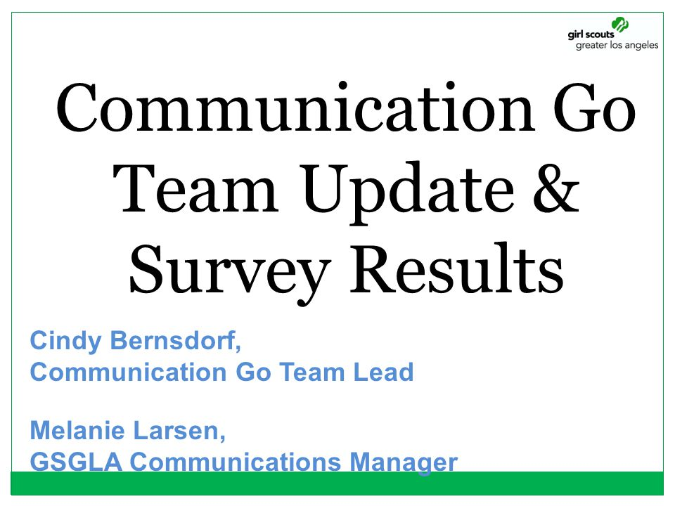 Communication Go Team Update & Survey Results