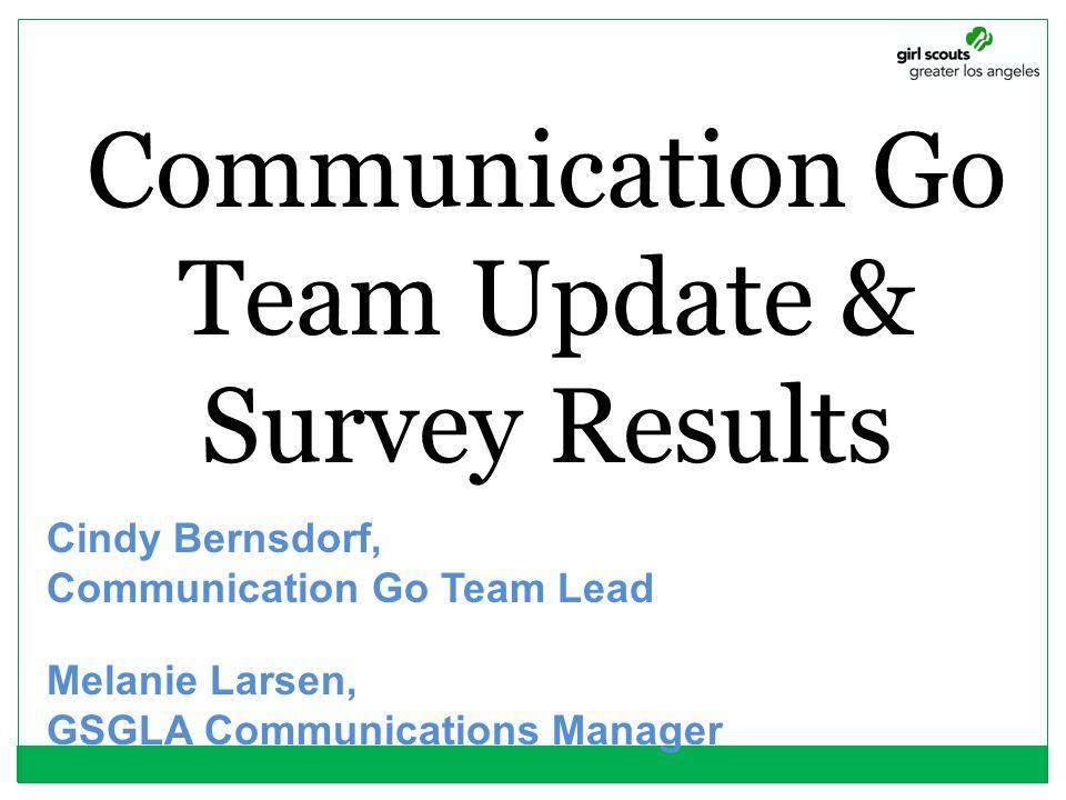 Communication Go Team Update & Survey Results
