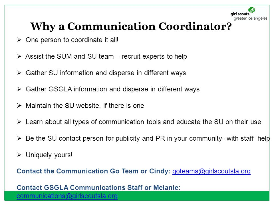 Why a Communication Coordinator