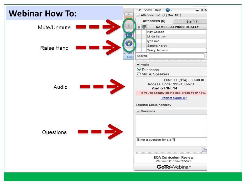 Webinar How To: Mute/Unmute Raise Hand Audio Questions