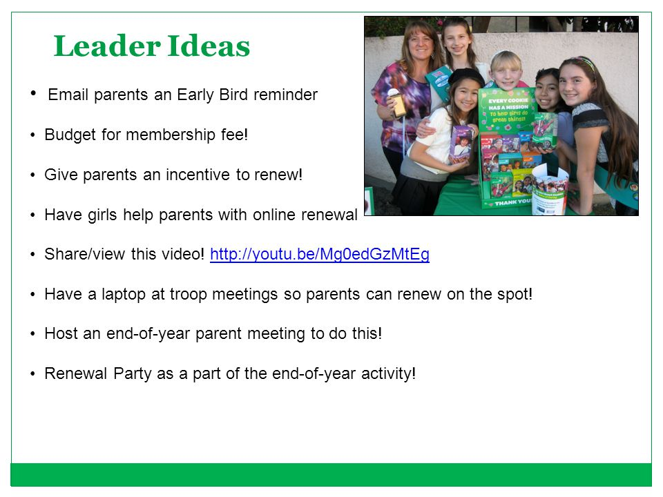 Leader Ideas Email parents an Early Bird reminder
