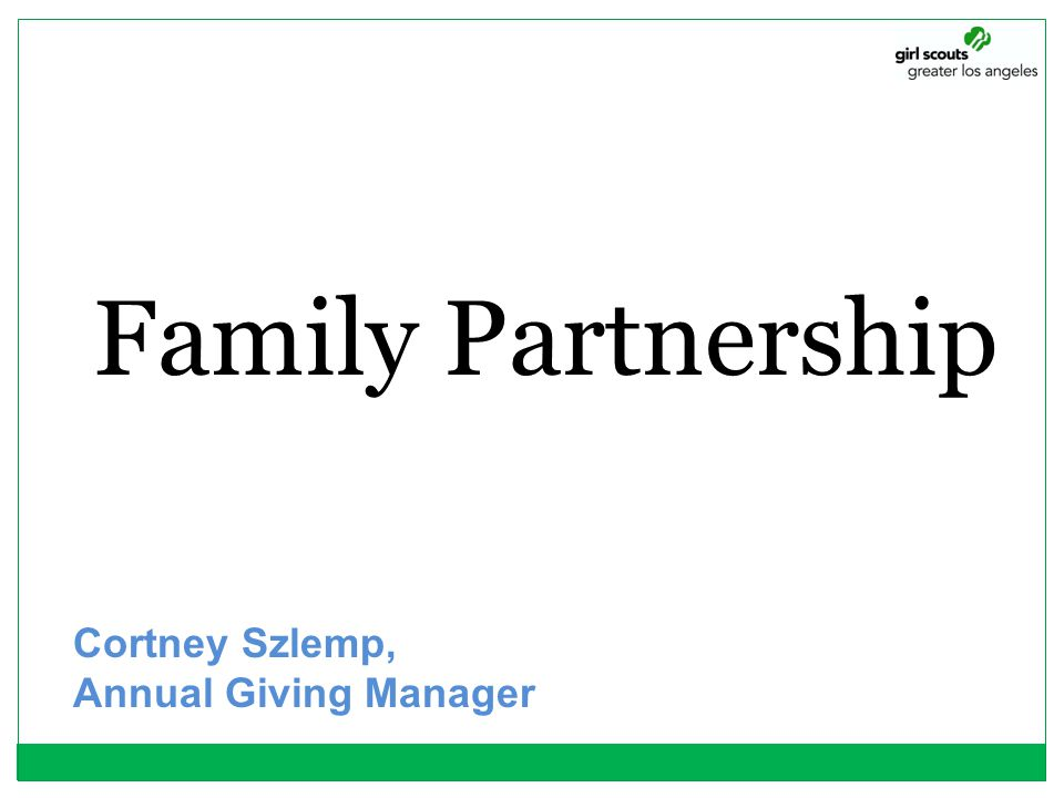Family Partnership Cortney Szlemp, Annual Giving Manager