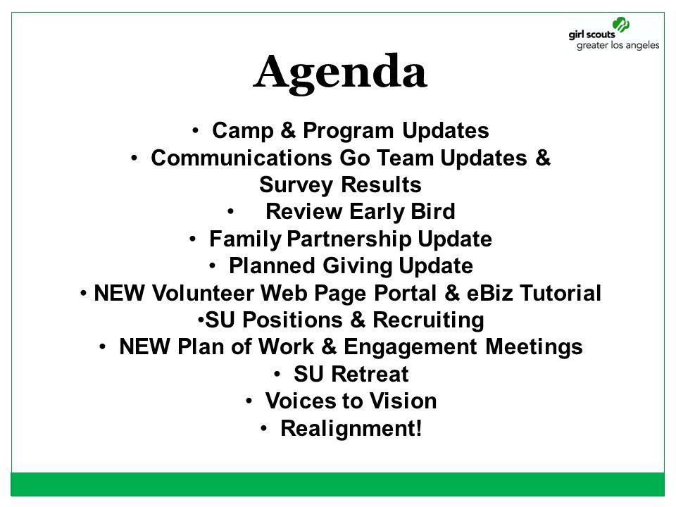 Agenda Camp & Program Updates Communications Go Team Updates &