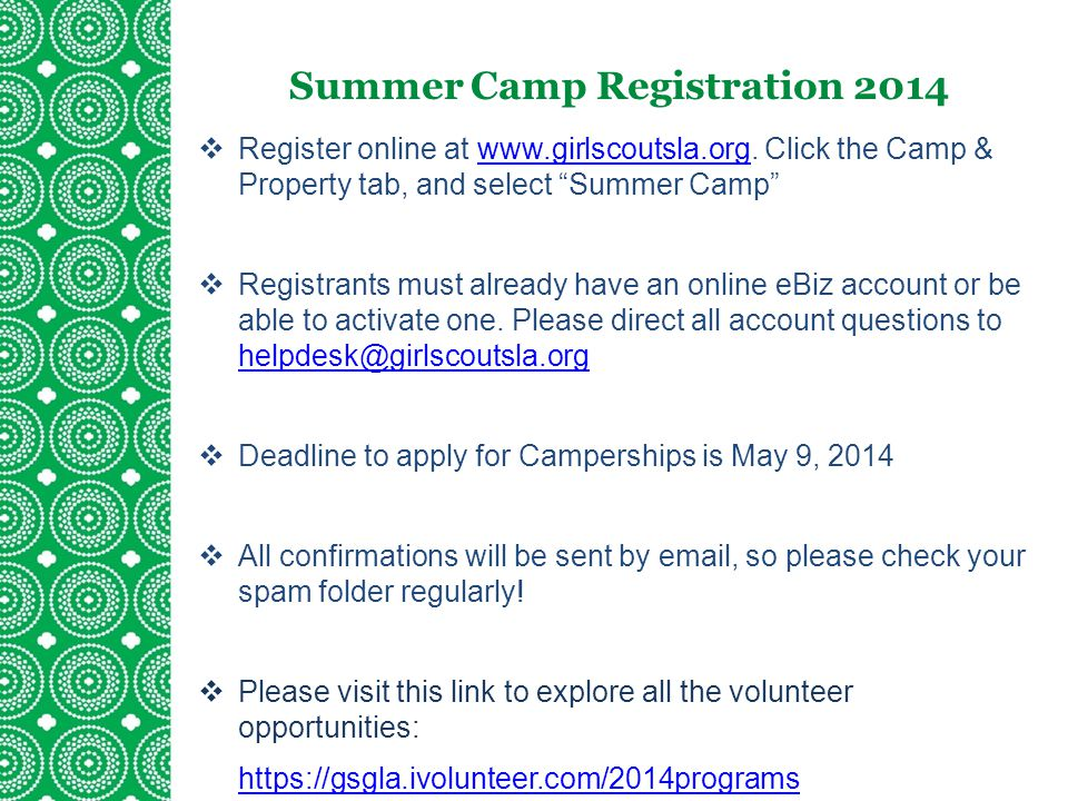 Summer Camp Registration 2014