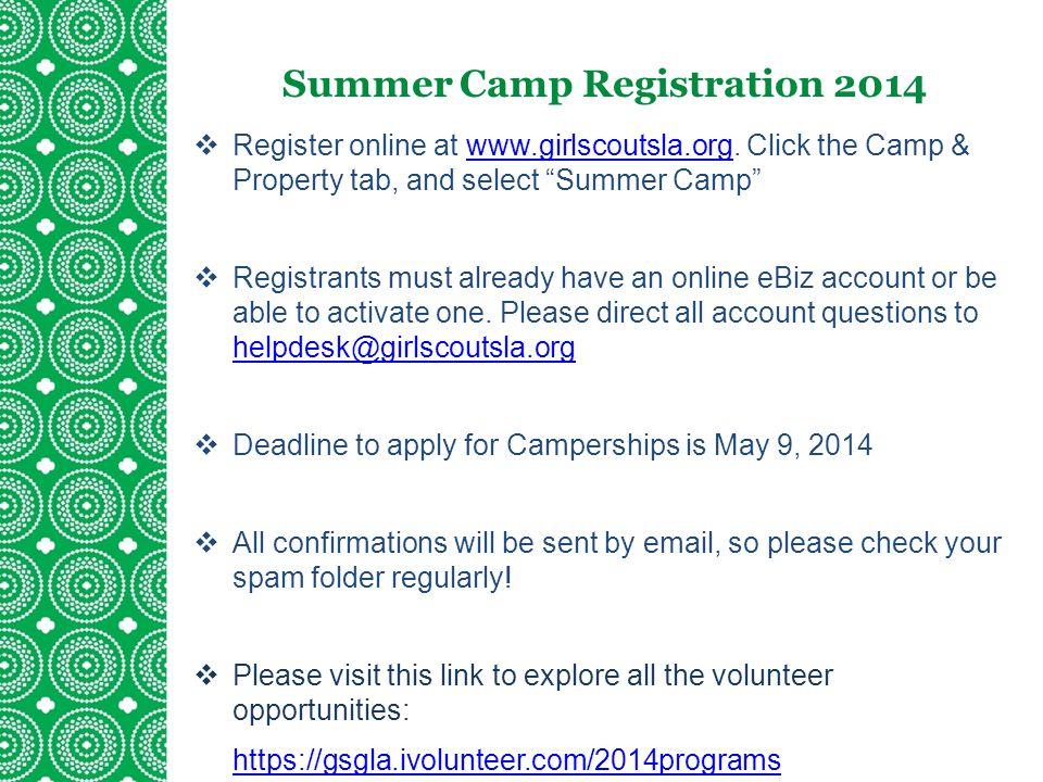 Summer Camp Registration 2014