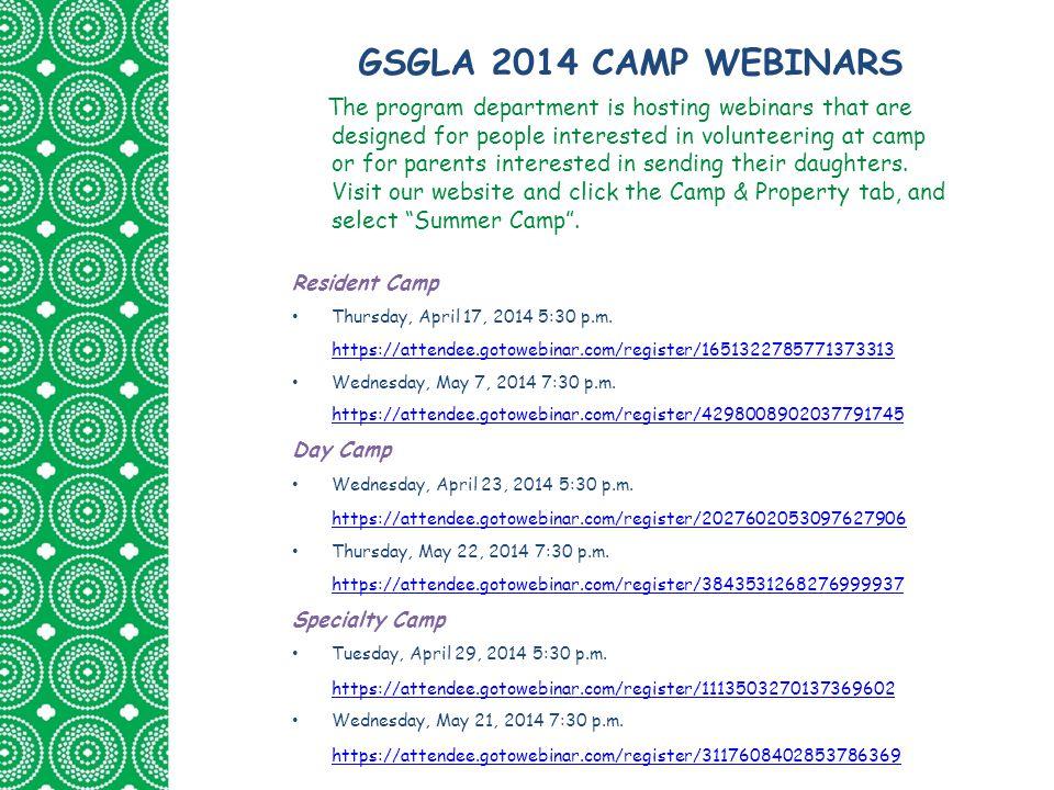 GSGLA 2014 CAMP WEBINARS