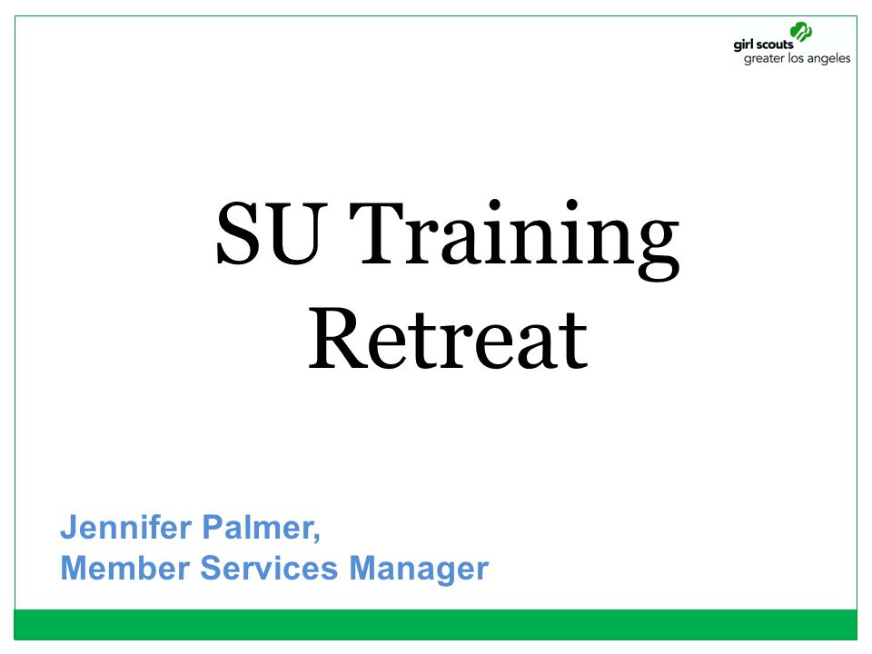 SU Training Retreat Jennifer Palmer, Member Services Manager