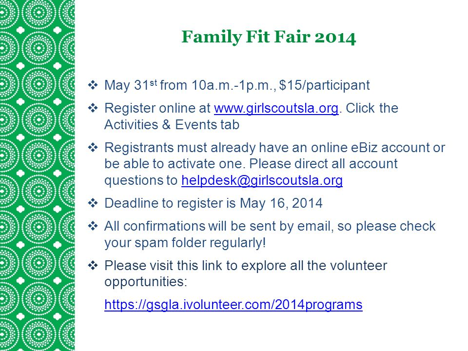 Family Fit Fair 2014 May 31st from 10a.m.-1p.m., $15/participant