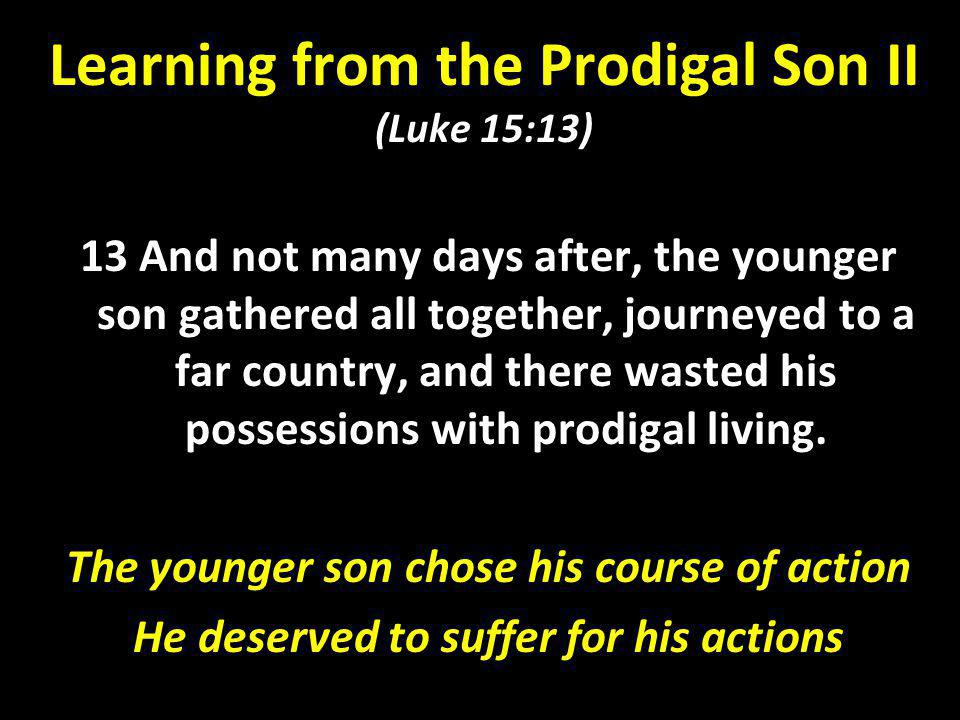 Learning from the Prodigal Son II (Luke 15:13)