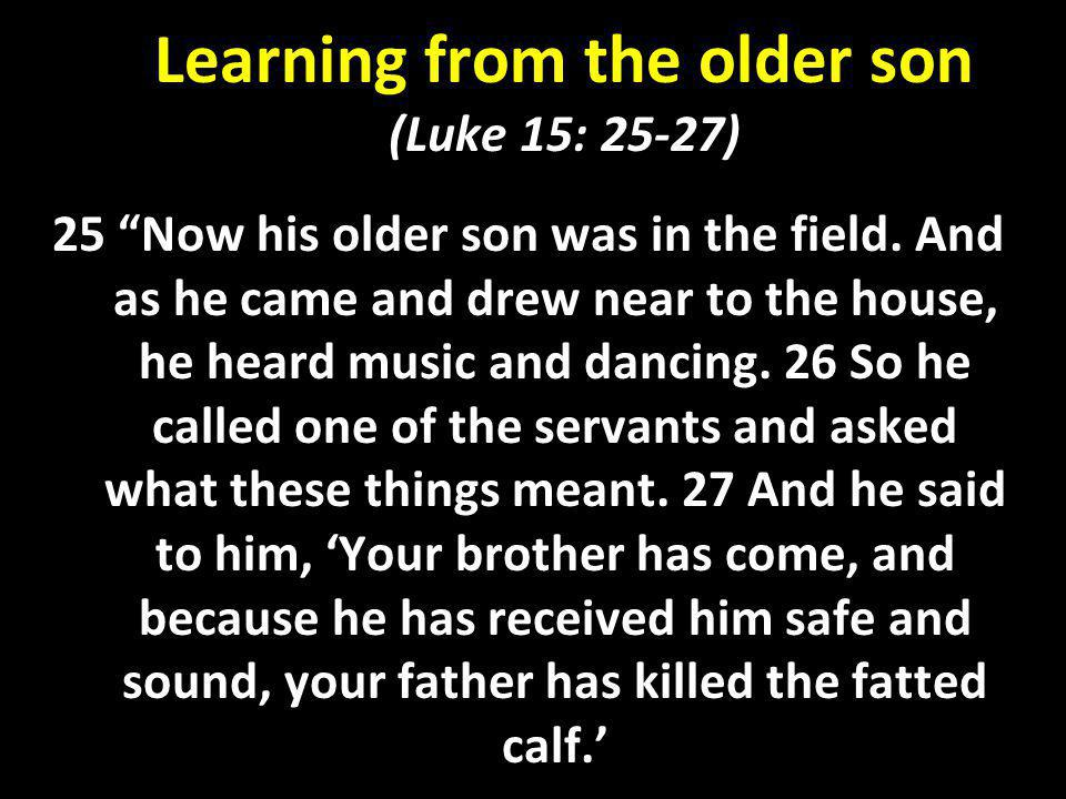 Learning from the older son (Luke 15: 25-27)