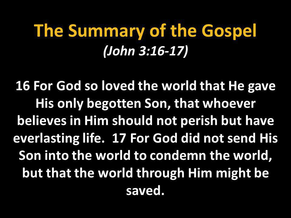 The Summary of the Gospel (John 3:16-17)