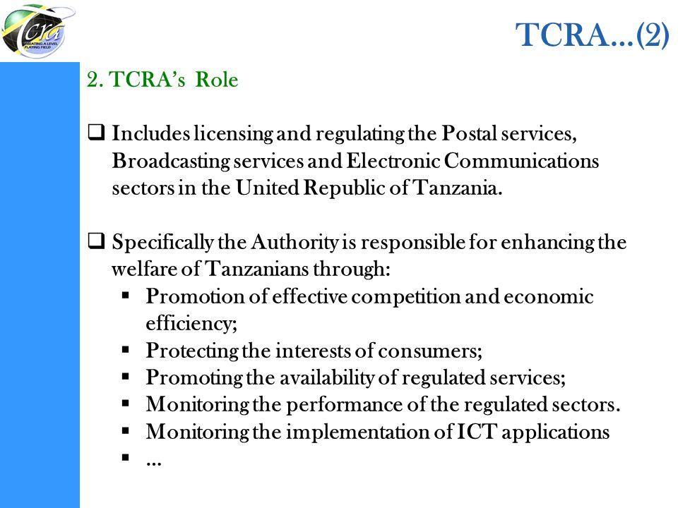 TCRA…(2) 2. TCRA's Role.