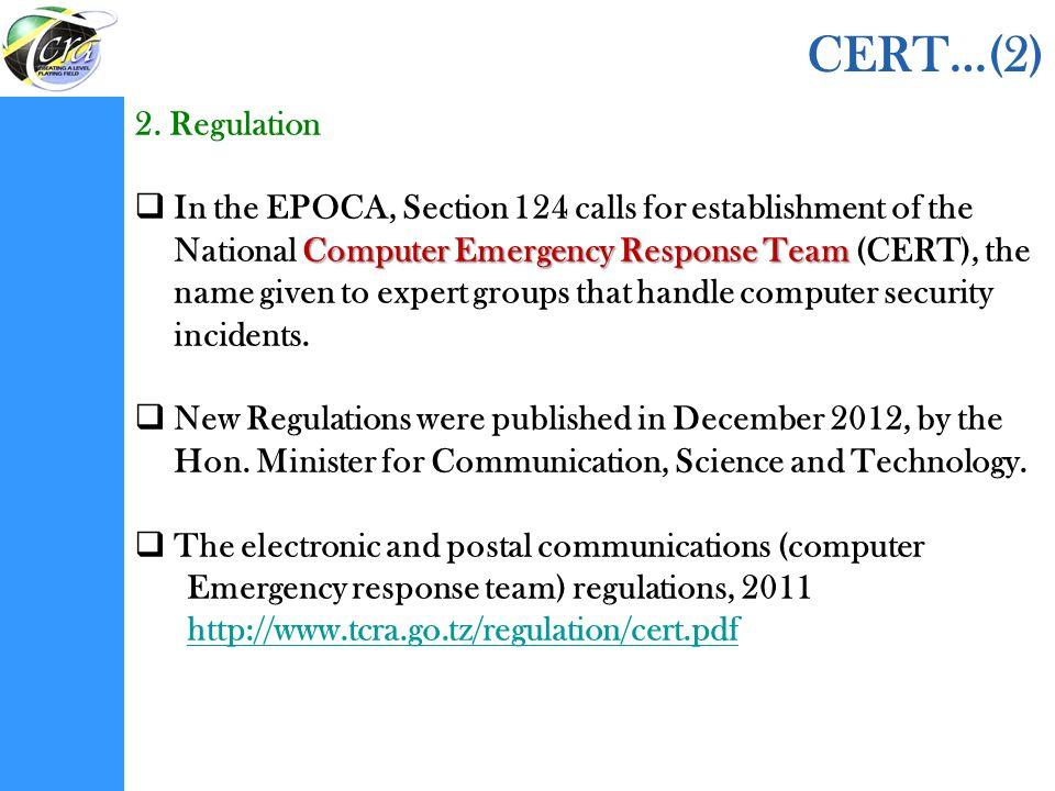 CERT…(2) 2. Regulation.