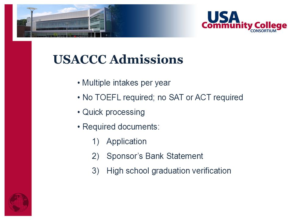 USACCC Admissions Multiple intakes per year