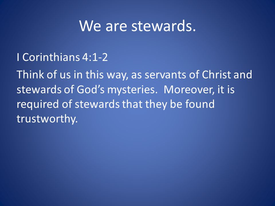 We are stewards.
