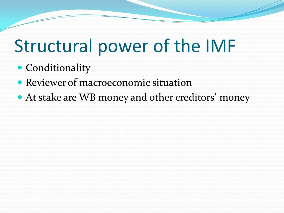 Structural power of the IMF