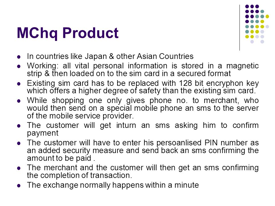MChq Product In countries like Japan & other Asian Countries