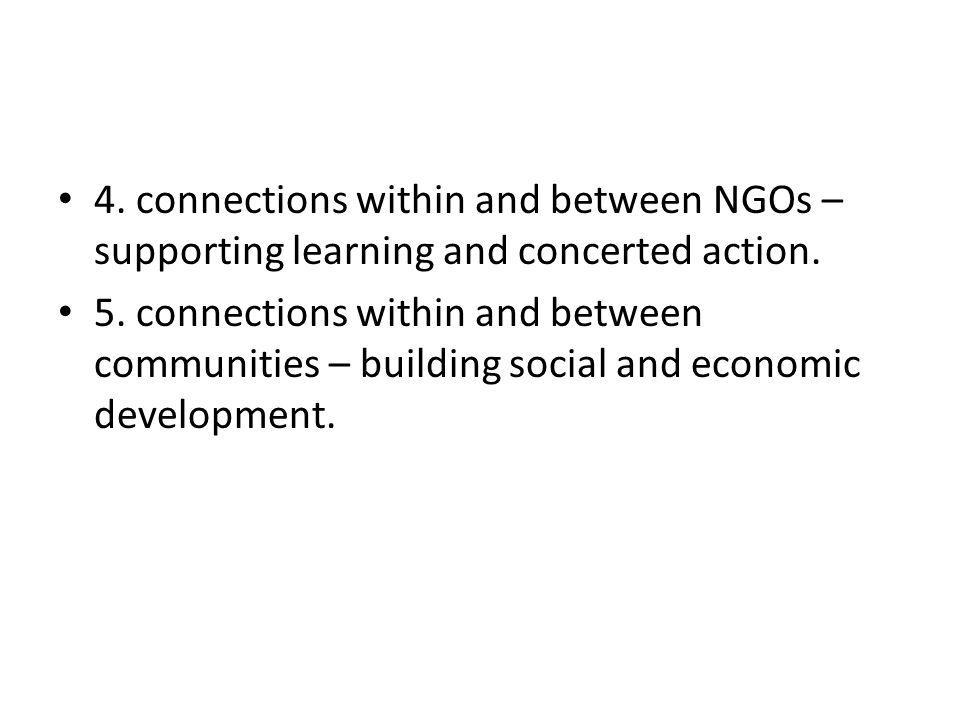4. connections within and between NGOs – supporting learning and concerted action.