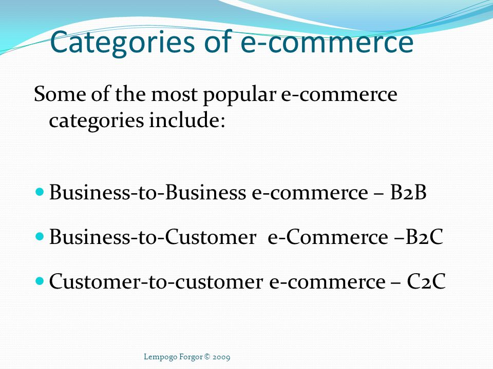 Categories of e-commerce