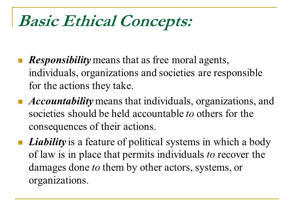 Basic Ethical Concepts: