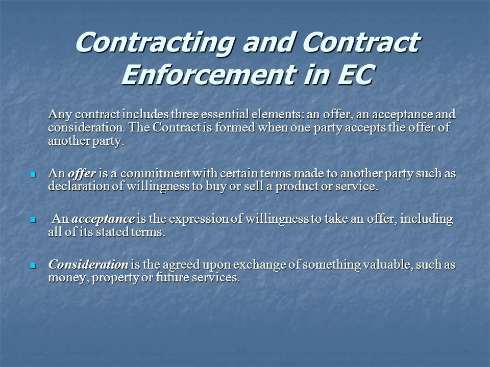 Contracting and Contract Enforcement in EC