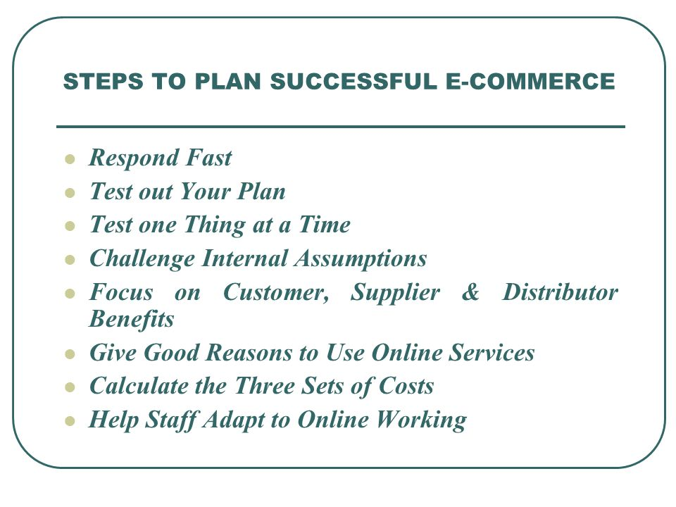 STEPS TO PLAN SUCCESSFUL E-COMMERCE